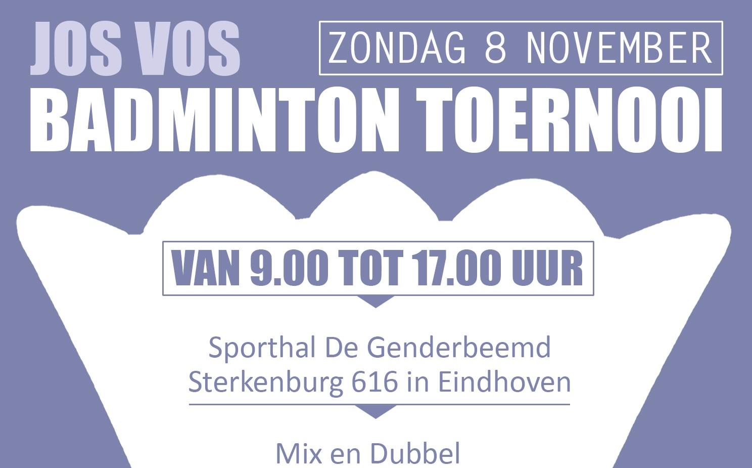 Uitnodiging Jos Vos badminton toernooi