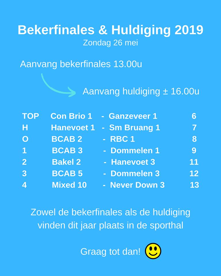 Uitnodiging bekerfinales & huldiging 2019