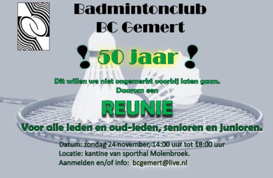 Reünie BC Gemert: wees welkom (oud-)badmintonners!