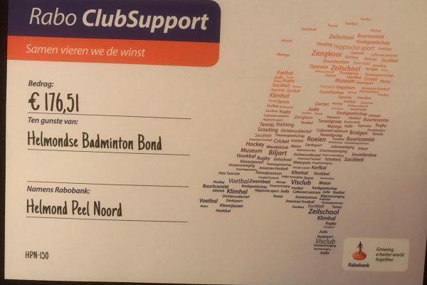 Rabo ClubSupport opbrengst bekend!
