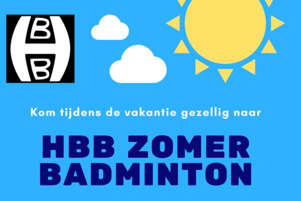 HBB Zomerbadminton 2020 komt er weer aan!